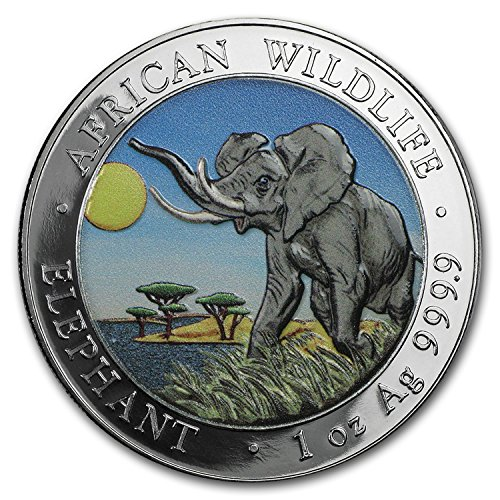 2016 DE Somalia 1 oz Silver Elephant (Colorized)