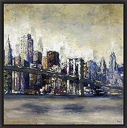 28in x 28in City Landmark I by Bridges - Black Floater Framed Canvas w/ BRUSHSTROKES