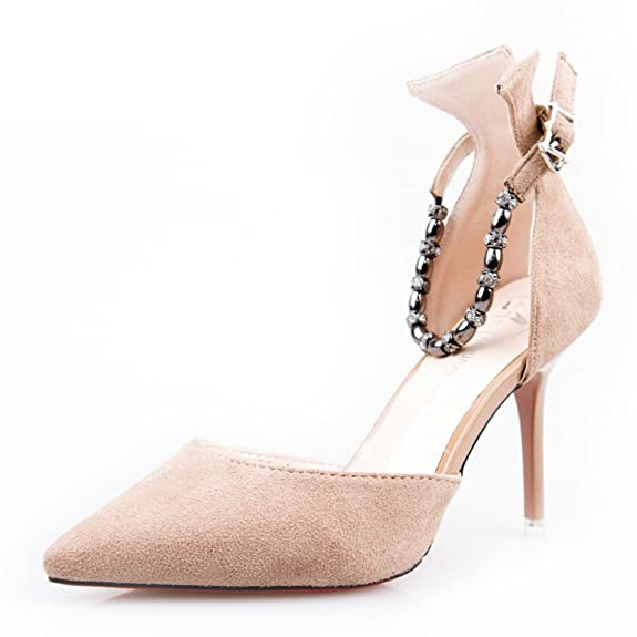chaussures coréenne/Parole boucle daim hauts talons/fin avec/air Side/Chaussures sexy pointues