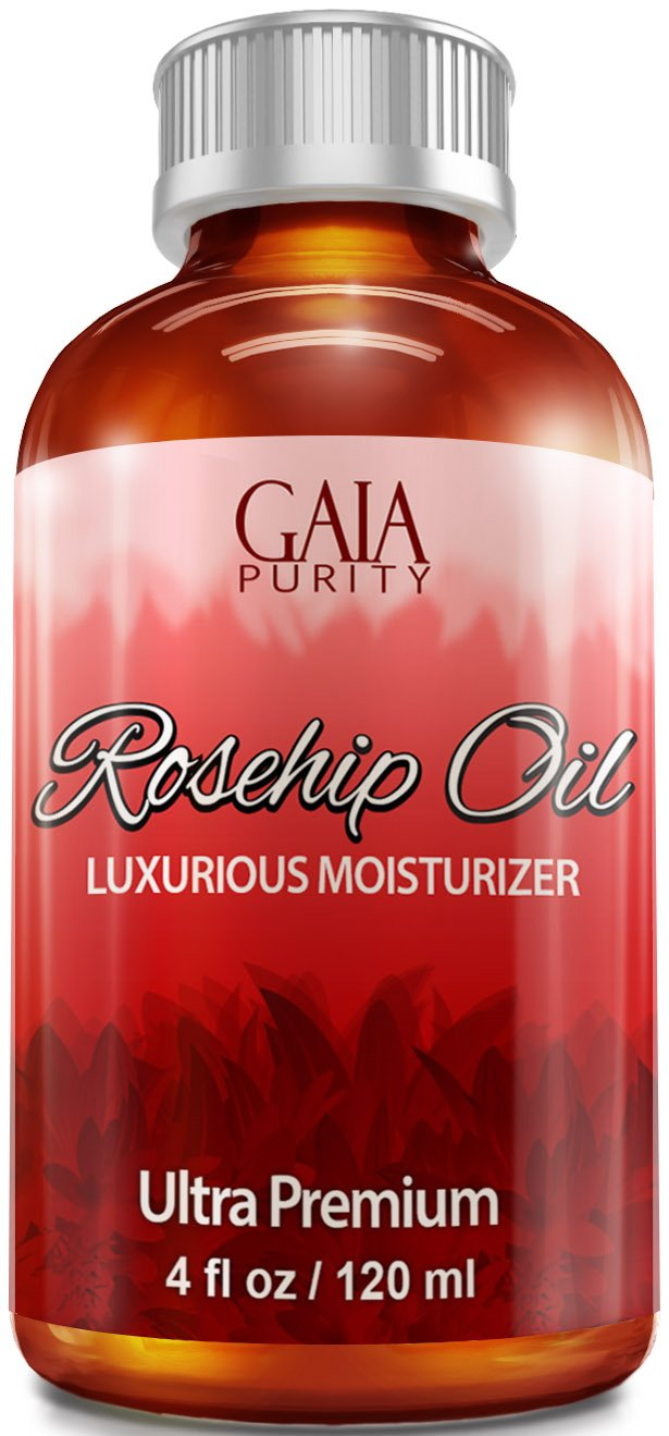 Rosehip Oil, Large 4oz - All Natural, Best Moisturizer for Face, Hair & Body to Help Heal Dry Skin, Diminish Scars, Discoloration, Acne, Wrinkles, Stretch Marks, Eczema, Skin Tags and Brittle Nails. Cold Pressed, Unrefined, Virgin Rose Hip Seed Oil with coconut oil extract cold pressed natural healthy oil for aromatherapy hair