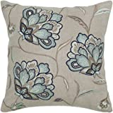 Rizzy Home T-4331 Decorative Pillows, 18 by 18-Inch, Beige/Blue, Set of 2