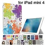 MIxUP iPad mini4 スマート カバー バック ケース 手帳型 スタンド 機能 アイパッド ミニ4 おしゃれ かわいい 絵の具 ペイント スプラッシュ マウンテン MXP-M4-ssSPLA-mou