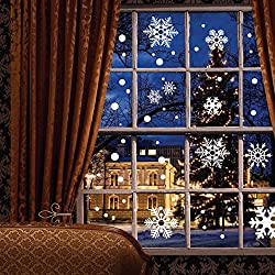 121 pcs Window Clings Wall Stickers Decal - White Snowflakes / Baubles / Bells - Christmas New Year Decorations Xmas Ornaments