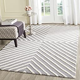 Safavieh Cambridge Collection CAM129D Handmade Silver and Ivory Wool Square Area Rug, 4 feet Square (4\' Square)