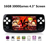 ANBERNIC Handheld Game Console, 16GB 3000 Retro Classic Game Console Pap-KIII , Portable Video Game Console Support GBA / NES / SFC / SEGA / NEOGEO , Birthday Gift for Children - Black (Color: Black)