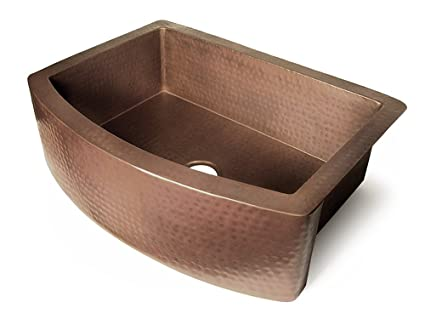 "Copper 36"" x 22"" Single Bowl Curved Front Farmhouse Kitchen Sink Finish: Dark Smoke Copper"