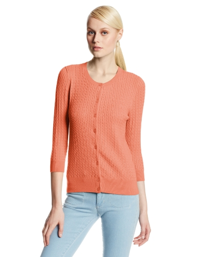 Colour Works Women's Cable Cardigan Sweater, Peach, Large
