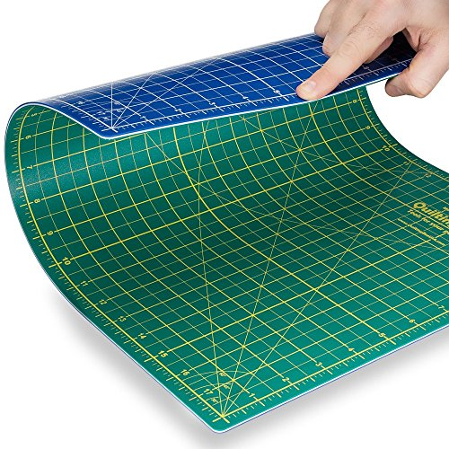 "Quilting Bee® 12""x18"" 2-in-1 (Green/Blue) Self-Healing Cutting Mat for quilting, crafts and scrapbooking. Use with rotary cutters, x-acto knives and"