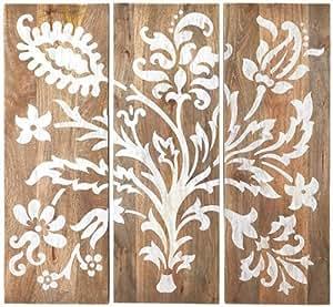 "Amazon.com: Faria Wood Wall Panel Set Of 3, 40""Hx14""Wx1.5""D, GREY"