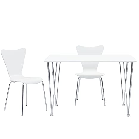 LexMod Simplicity Dining Table in White, Arne Jacobsen-Style Series 7 Side Chair Set in White