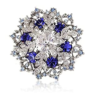 Bridal Brooch Midnight Sapphire-blue Color Crystal Brooch and Pendant 5cm X 5cm - Gift for Her