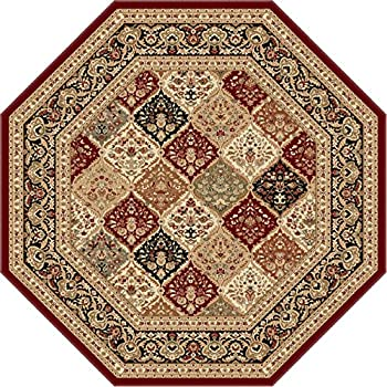 Universal Rugs Princeton Traditional Oriental Red Octagon Area Rug, 6 Octagon