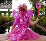 Pink & Hot Pink 5 Piece Fairy Princess Costume Set - Includes Tutu, Wings, Wand and Flower Halo and Silver Tiara