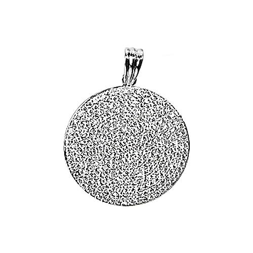 18k white gold pendant round zircons [AA4910]