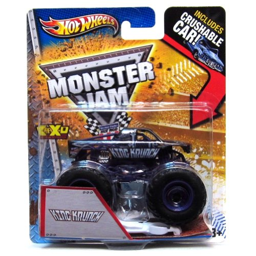 King Krunch Hot Wheels Monster Jam Purple Die Cast Truck 1:64 with Crushable Car X8989 - 1