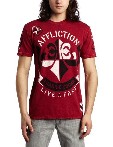 Affliction Men's Edgar Smash Short Sleeve Tee, Red, Medium