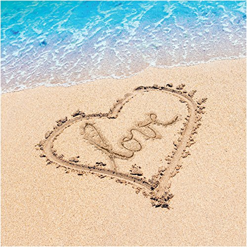 Creative Converting 16 Count 3-Ply Beach Love Lunch Napkins, Blue/Brown