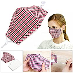 Cycling Anti Wind Dust Flu Nose Mouth Muffle Cloth Cover Barrier Activated Carbon Cotton Face Mask Ear Loop (Red)