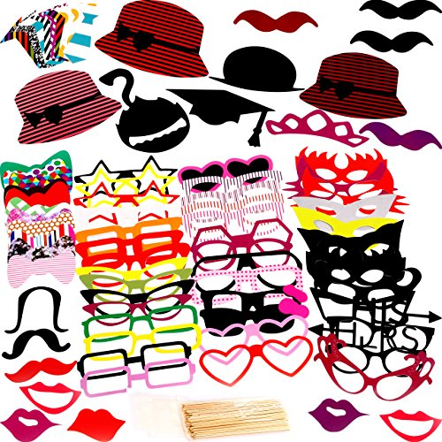 Photo Booth Props 76 Piece DIY Kit for Birthday Party, Wedding & Photobooth - Funny Prop Mustache, Tie, Glasses & Hats (Wedding Accesories For Party compare prices)