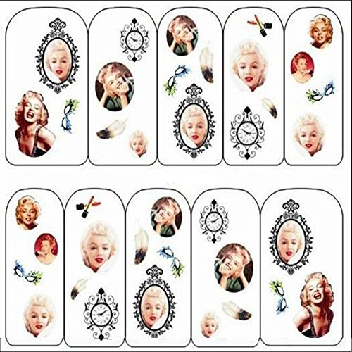 Generico Marilyn Monroe Orologio Lip design Stampa Nail Art Water decalcomanie