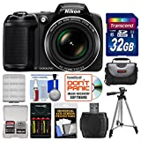 Nikon Coolpix L340 Digital Camera with 32GB Card + Case + Batteries & Charger + Tripod Kit (Certified Refurbished)