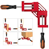 Right Angle Clamp, Housolution Single Handle 90° Aluminum Alloy Corner Clamp, Right Angle Clip Clamp Tool Woodworking Photo Frame Vise Holder with Adjustable Swing Jaw (Double Handle, 13-Red) (Color: 13-red, Tamaño: Double Handle)