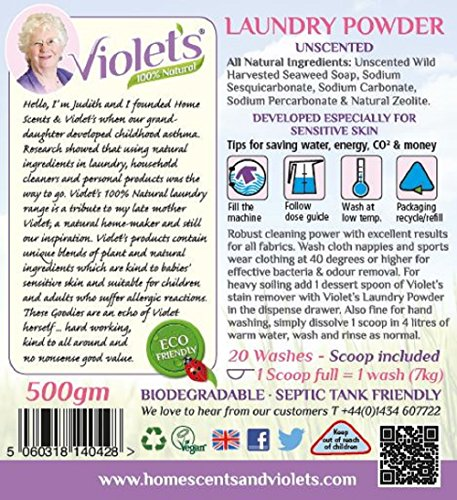 Violet's Natural Laundry Powder Unscented 500gm
