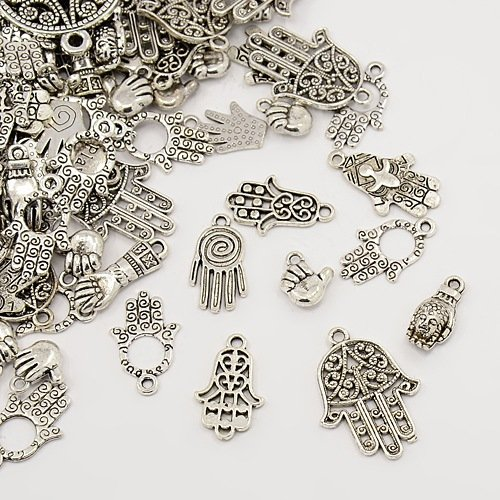 25 pc Tibetan Style Pendants, Mixed Alloy Palm Pendants, Cadmium Free & Lead Free, Antique Silver, 13~54x11~37x1~5mm, Hole: 1.5~2.5mm