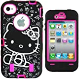 """Hello Kitty Hybrid Case for iPhone 4 4G 4S Hot Pink High Impact Cute Bow Cover with Front/Back Screen Protectors & Stylus + FREE GIFT HELLO KITTY """"PRINCESS KITTY"""" WATERPROOF STICKER INCLUDED"""