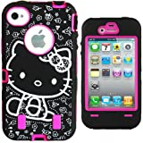"Hello Kitty Hybrid Case for iPhone 4 4G 4S Hot Pink High Impact Cute Bow Cover with Front/Back Screen Protectors & Stylus + FREE GIFT HELLO KITTY ""PRINCESS KITTY"" WATERPROOF STICKER INCLUDED"
