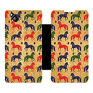 Skintice Designer Flip Cover with Vinyl wrap-around for Micromax Canvas Bolt D303 , Design - Horse pattern