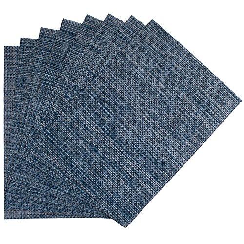 Benson Mills Longport Woven Vinyl Placemat, Metallic Blue, Set of 8