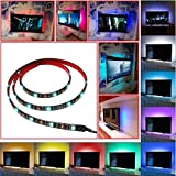 61FLWAYxzWL. SL160  SROCKER A3 LED TV Backlight Kit USB Multi color RGB Home Theater Background Accent lighting Waterproof Strip Lights for HDTV, Computer and Aquarium with RF Remote Control