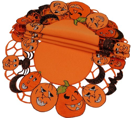 Xia Home Fashions 4-Pack Happy Jack-O-Lanterns Round Doily, 12-Inch front-512931