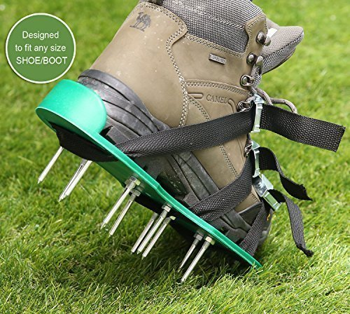 Ohuhu Lawn Aerator Spike Shoes, Aerating Lawn Soil Sandals with Metal Buckles and 3 Adjustable Straps, 440 Pound Capacity