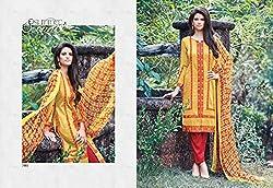 Ganga Fashions Golden Orange Printed Cotton Silk Fabric Fancy Salwar Suit GE-7005-Summer Sonnet