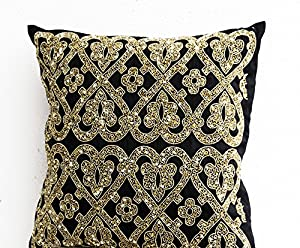 Black Beaded Throw Pillow : Amazon.com - Black Beaded Pillow Covers - Black Metallic Gold Pillowcases - Black Geometric ...