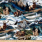 Kaufman North American Wildlife 4 Animal Collage Earth Fabric By The Yard