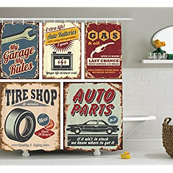 Ambesonne 1950s Decor Collection, Vintage Car Metal Signs Automobile Advertising Repair Vehicle Garage Classics Servicing Image, Polyester Fabric Bathroom Shower Curtain Set, 75 Inches Long, Burgundy