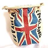 ランドリー バスケット 麻 取っ手 付き 収納 かご インテリア (英国国旗)