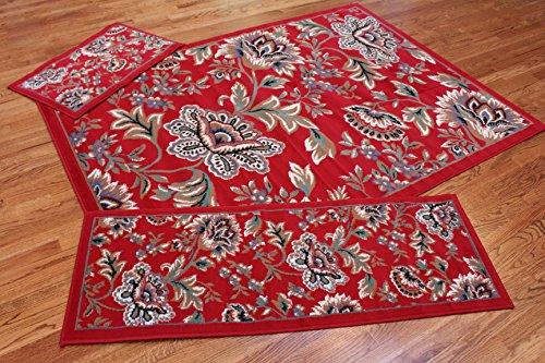 Abrahami Sultan 3-piece Area Rug Set Floral Claret RED -Includes Area Rug -Runner - Scatter Rug 2842