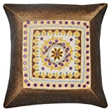 Home Decor Embroidered Mirror Work Silk Single Cushion Cover 17 Inches Single Pc - B00IGPUN2Q