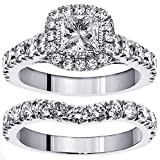 3.00 CT TW GIA Certified Halo Princess Cut Diamond Encrusted Engagement Bridal Set in 14k White Gold (F-G color, VS2-SI1 clarity) - Size 4