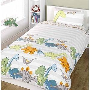 Childrens/Kids Dinosaur Design Quilt/Duvet Cover Bedding Set (Full Bed) (Natural)