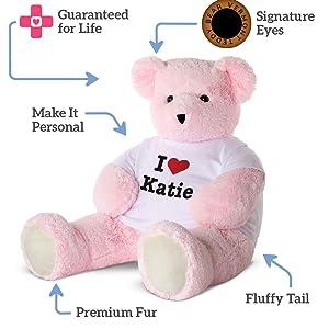 Vermont Teddy Bear Teddy Bears Stuffed Animals - I Love You Teddy Bear, 4 Foot, Custom, Jumbo, Pink (Color: 4 Foot Pink Big Bear)