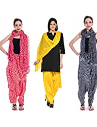 Om Prints Multi Colour Women's Patiala And Dupatta Set Of 3 ( Free Size)