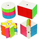 55cube Windmill Cube, Fisher Cube, Round Column Cube, Ancient Double Fish Cube Stickerless [4 Pack]