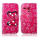 Fashion Youth Series Cute Design Rose Pink Love Heart Bow Bowknot Wallet Flip Case Folio PU Leather Stand Cover with Card Slots for Motorola Moto G XT1032 + Free Lovely Gift