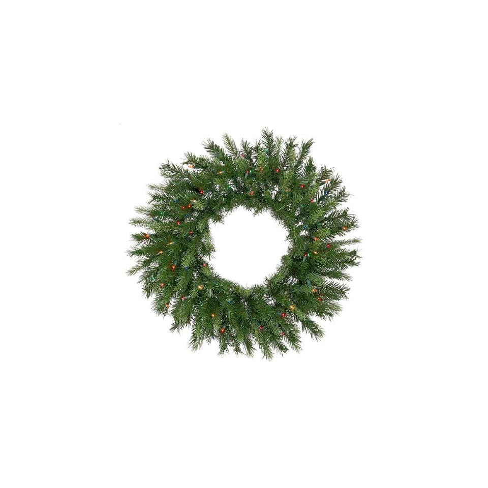 6 Pre Lit Tiffany Spruce Artificial Christmas Wreath   Multi Lights