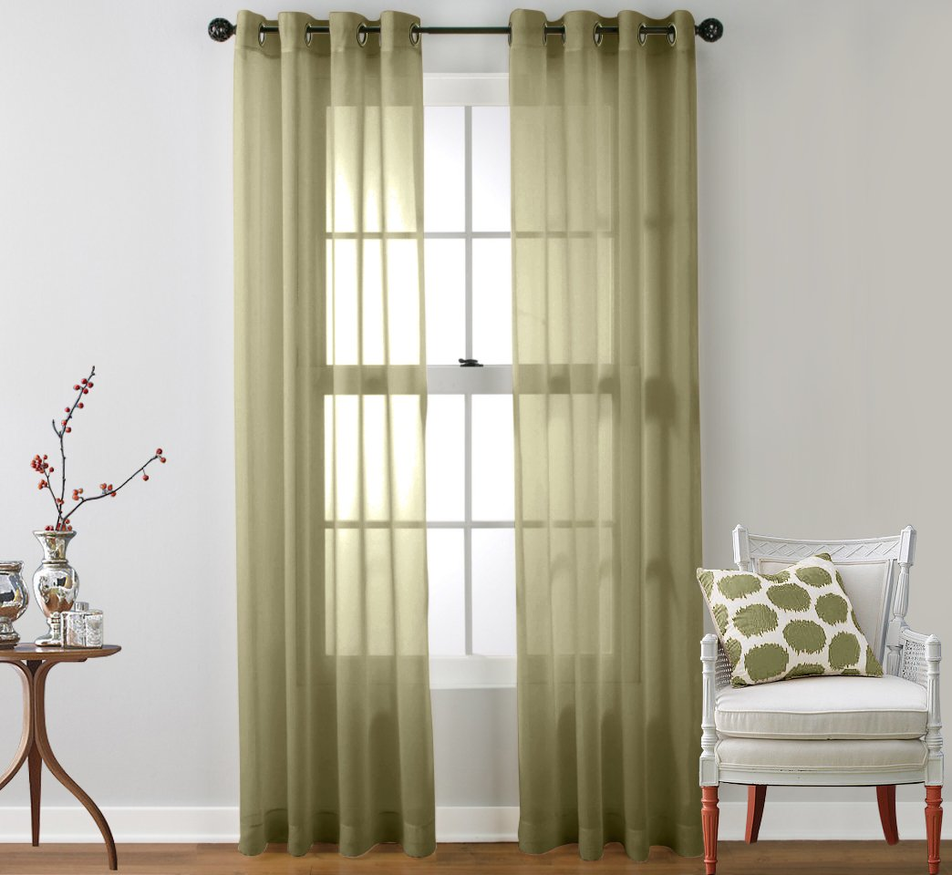 HLC.ME 2 Piece Sheer Curtain Grommet Panels (Sage) at Sears.com